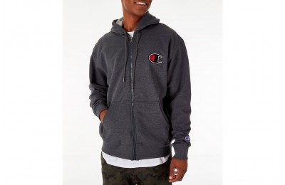 Champion Men's Powerblend Full-Zip Hoodie - Granite