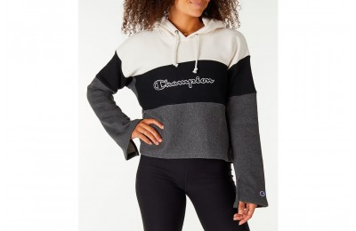 Champion Women's Reverse Weave Blocked Hoodie - Cream/Black/Grey