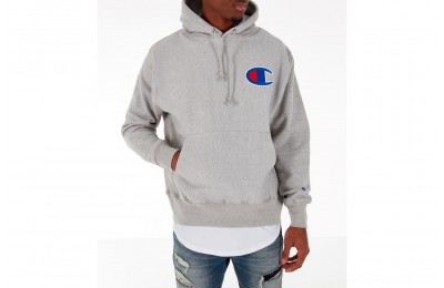 Champion Men's Reverse Weave Big C Patch Hoodie - Grey