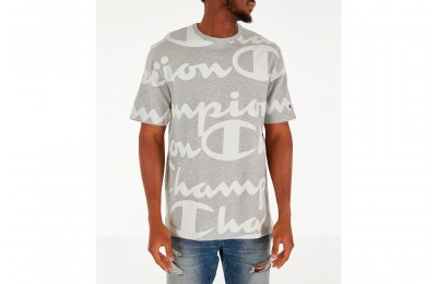 Champion Men's Heritage Allover Print Large Script T-Shirt - Grey/White