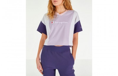 Champion Women's Colorblocked Short-Sleeve T-Shirt - Violet/Light Blue