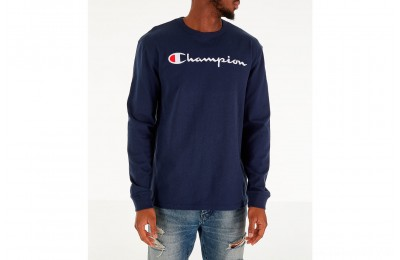 Champion Men's Heritage Logo Long Sleeve T-Shirt - Navy