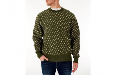 Champion Men's Reverse Weave Allover Print Crewneck Sweatshirt - Hiker Green