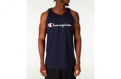 Champion Men's Script Tank - Navy
