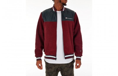Champion Men's Sherpa Baseball Jacket - Mulled Berry