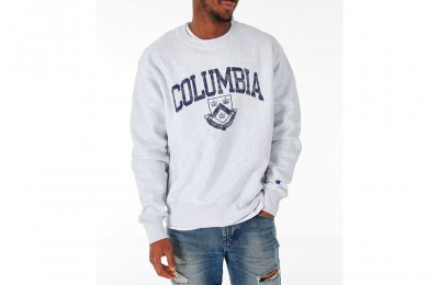 Champion Men's Columbia Lions College Reverse Weave Crewneck Sweatshirt - Silver Grey
