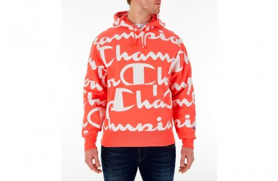 Champion Men's Reverse Weave Allover Print Large Script Hoodie - Groovy Papaya
