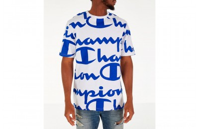Champion Men's Heritage Allover Print Large Script T-Shirt - White/Royal
