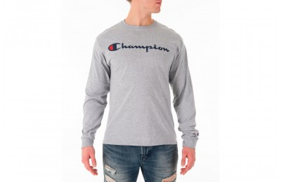 Champion Men's Script Long Sleeve T-Shirt - Grey