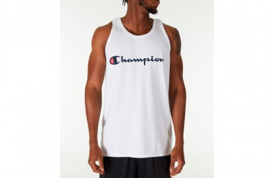 Champion Men's Script Tank - White