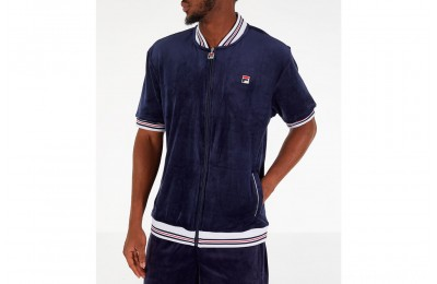 Fila Men's Carezzi Velour Full-Zip T-Shirt Jacket - Navy