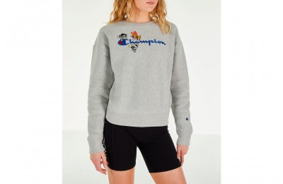 Champion Women's x The Powerpuff Girls Reverse Weave Crewneck Sweatshirt - Oxford Grey