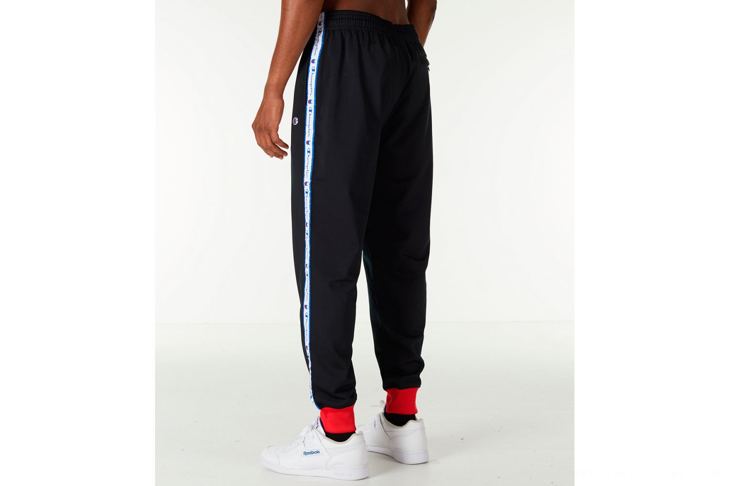 Champion Men's Side Tape Track Jogger Pants - Black/White/Red