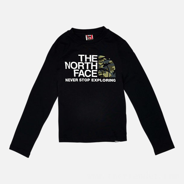 The North Face Kids' Camo Long-Sleeve T-Shirt Black