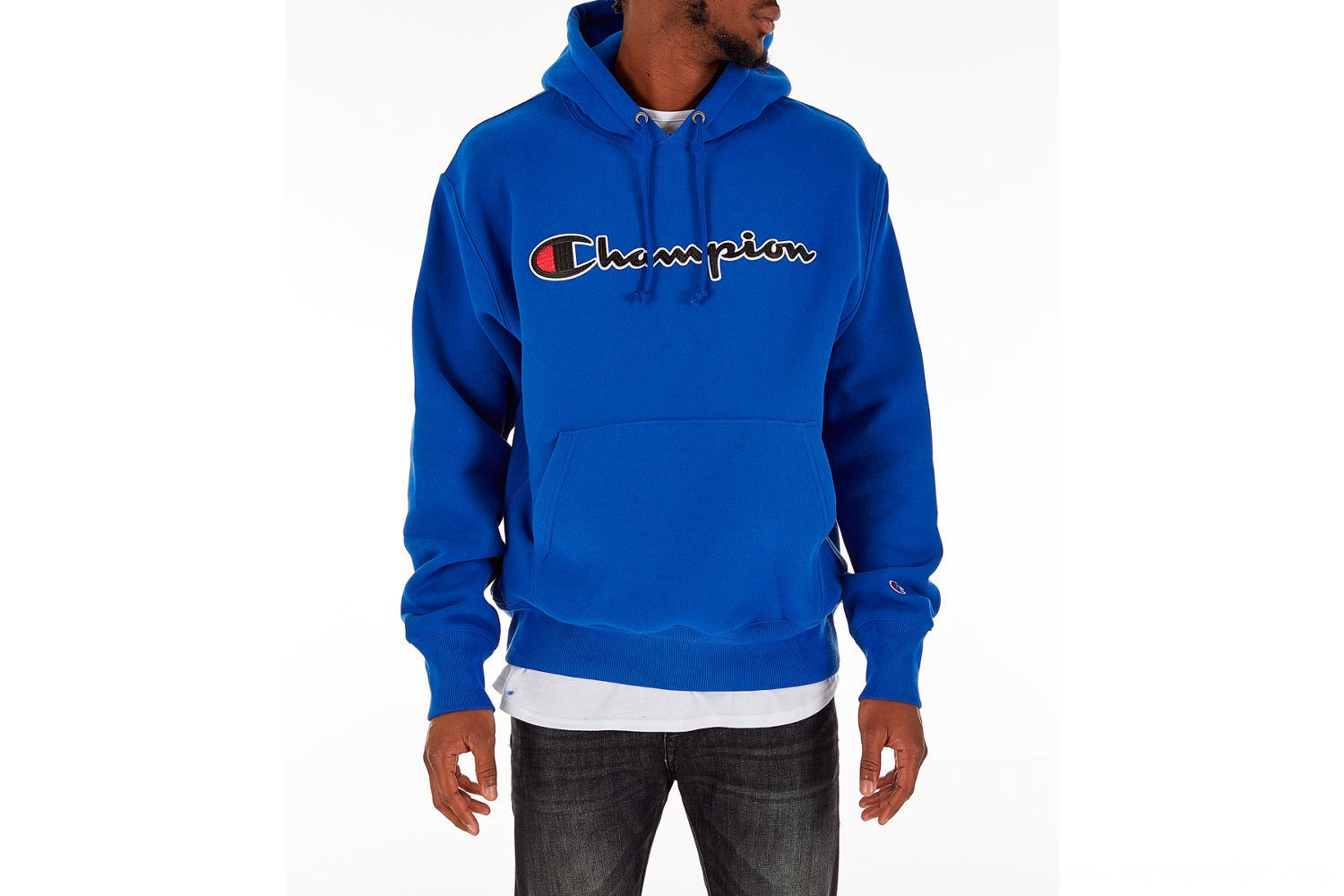 Champion Men's Reverse Weave Script Pullover Hoodie - Royal