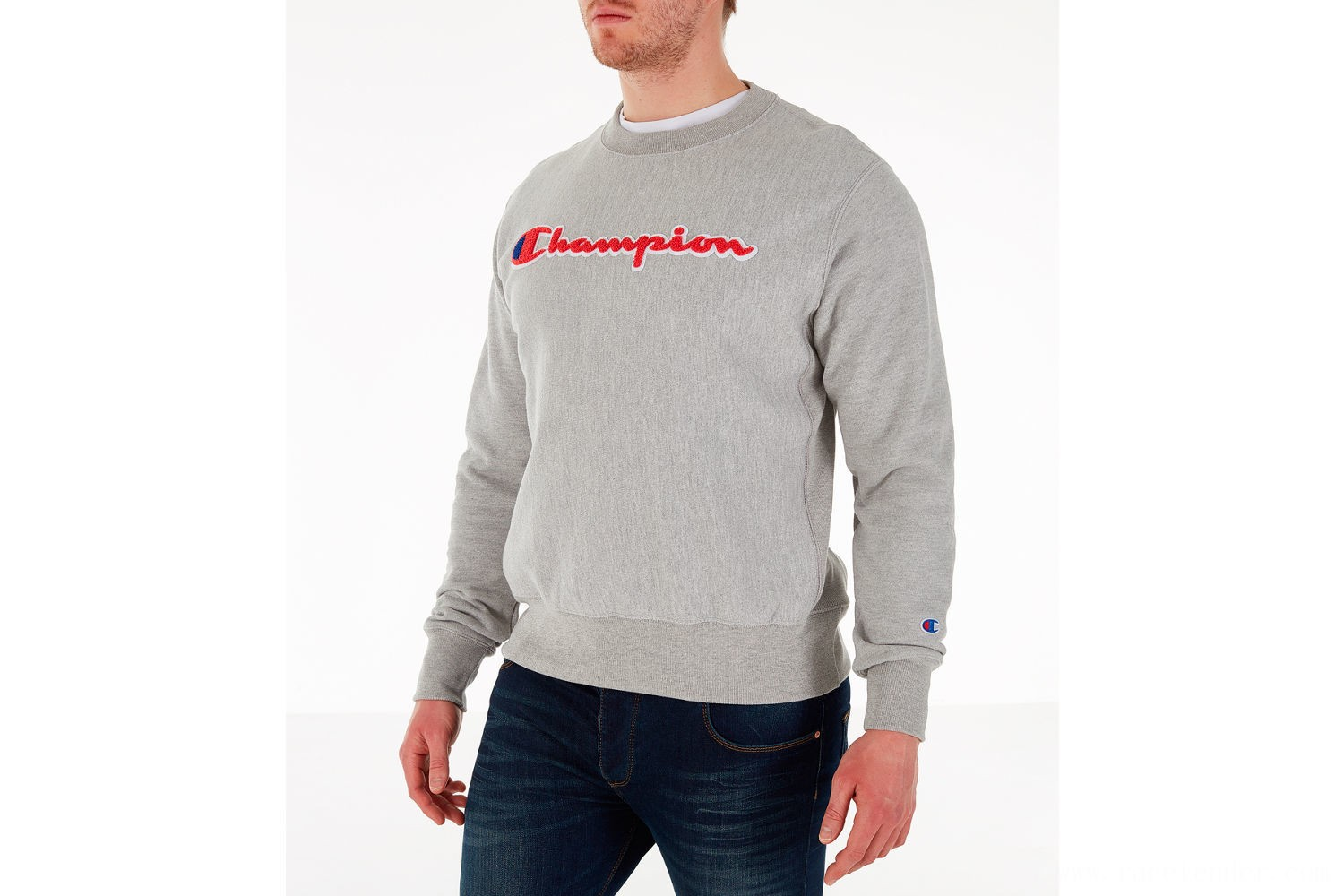 Champion Men's Reverse Weave Chenille Logo Crewneck Sweatshirt - Oxford Grey