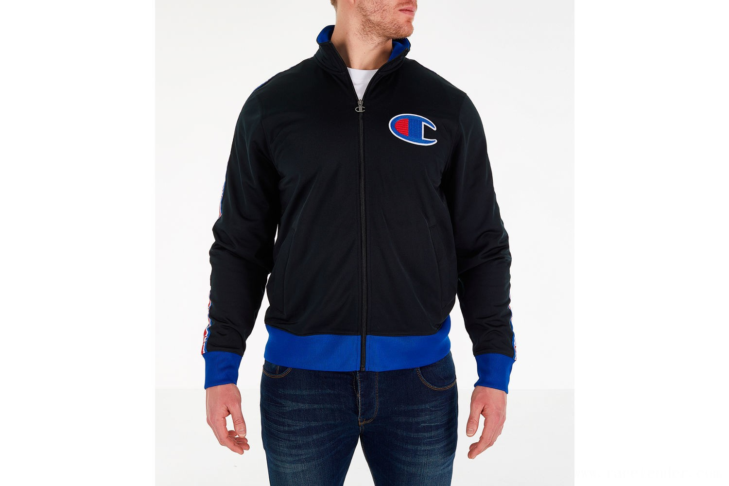 Champion Men's Track Jacket - Black/Royal