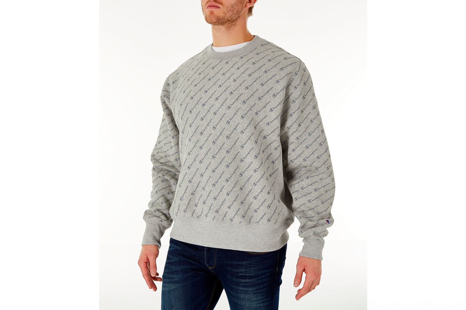 Champion Men's Reverse Weave Allover Print Crewneck Sweatshirt - Script Oxford Grey
