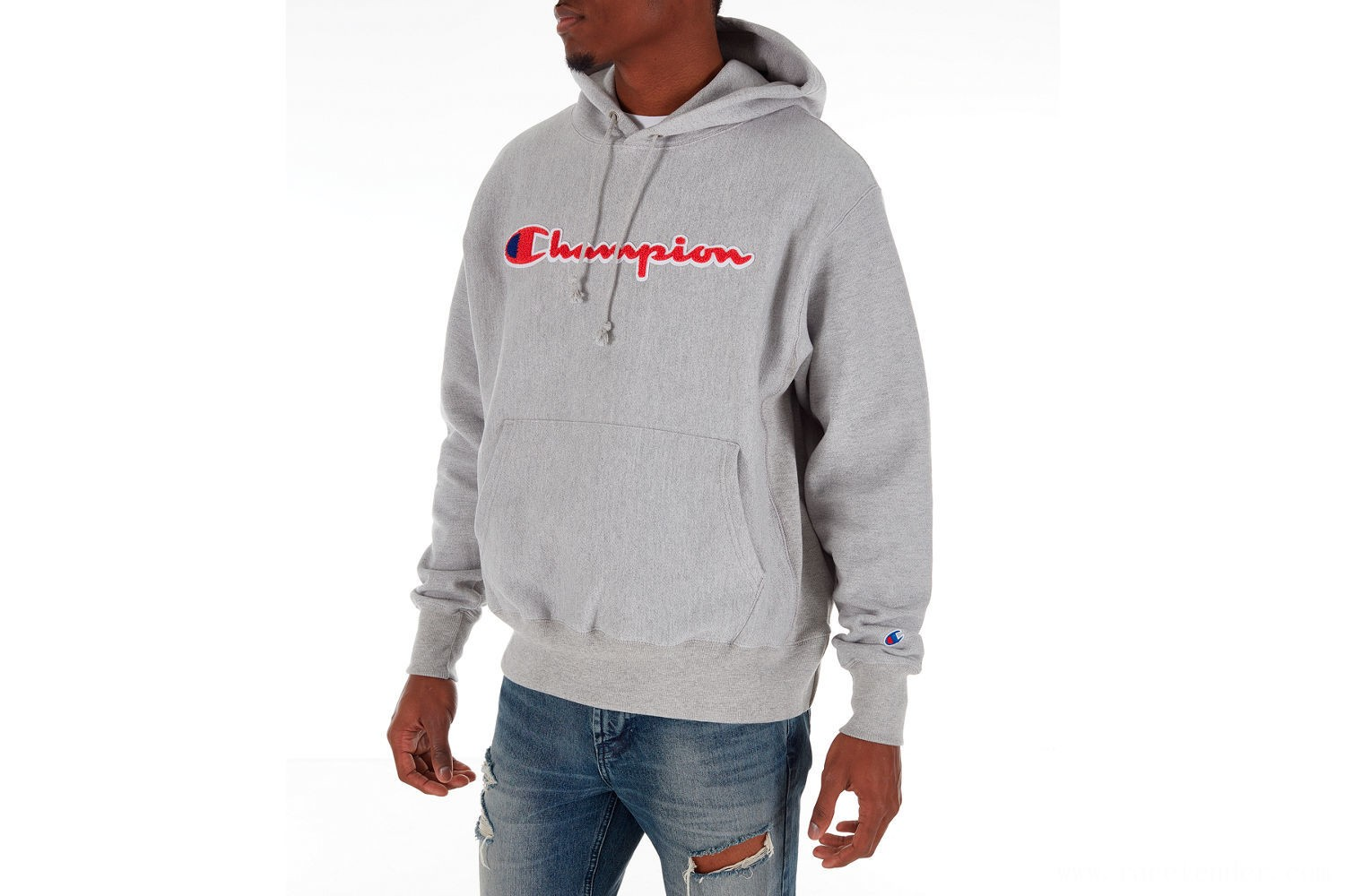 Champion Men's Reverse Weave Chenille Logo Hoodie - Oxford/Papaya