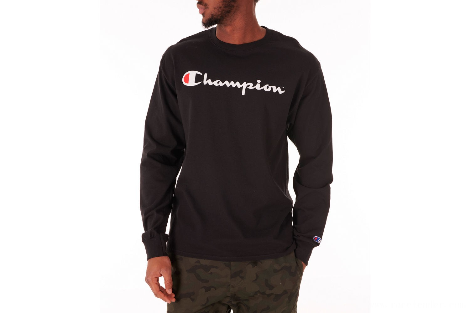 Champion Men's Script Long Sleeve T-Shirt - Black