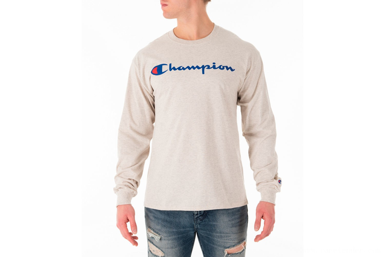 Champion Men's Script Long Sleeve T-Shirt - Oatmeal