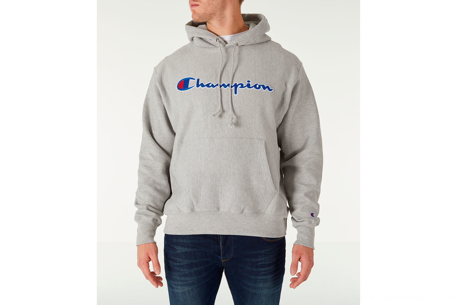 Champion Men's Reverse Weave Script Pullover Hoodie - Oxford Grey