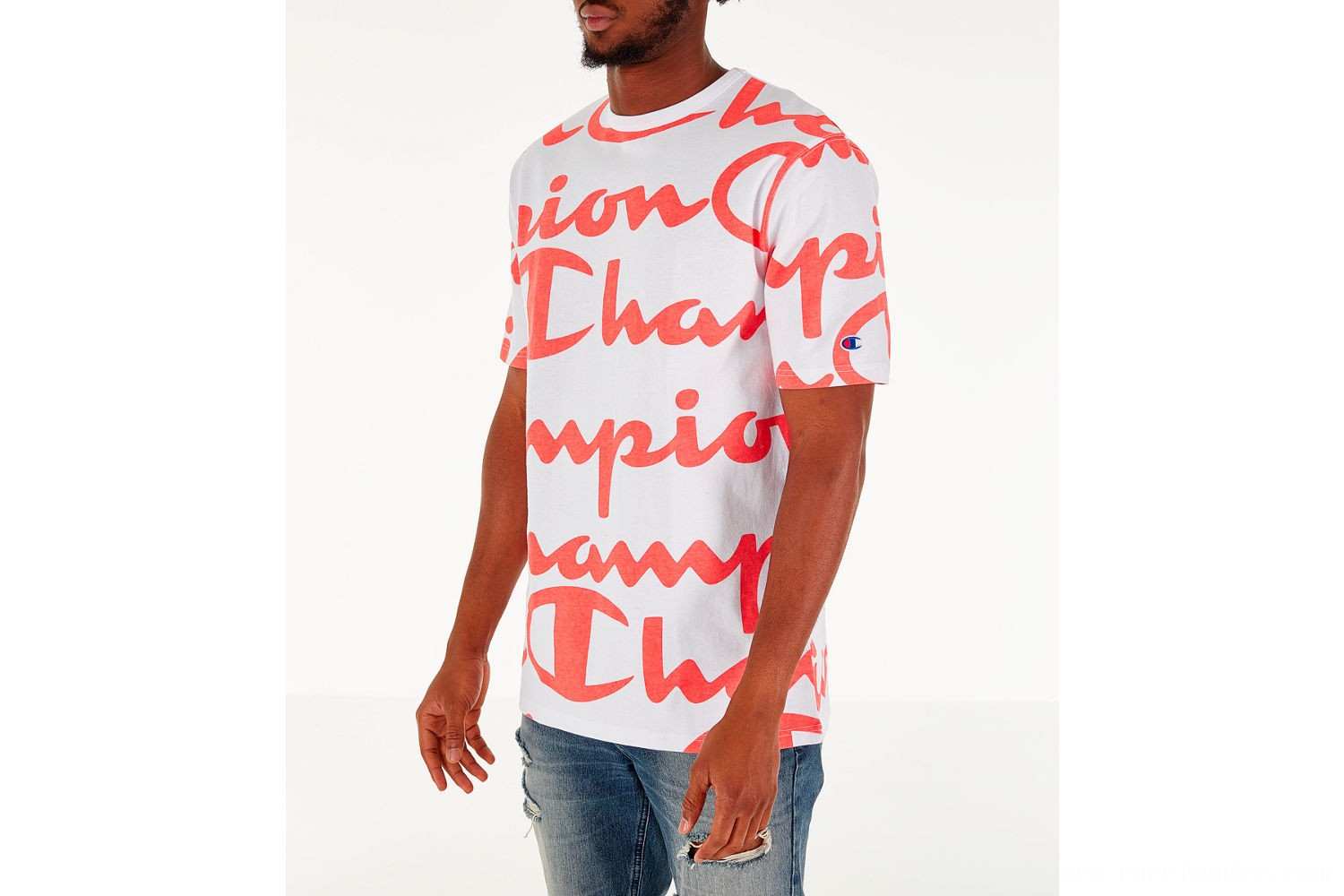 Champion Men's Heritage Allover Print Large Script T-Shirt - White/Papaya