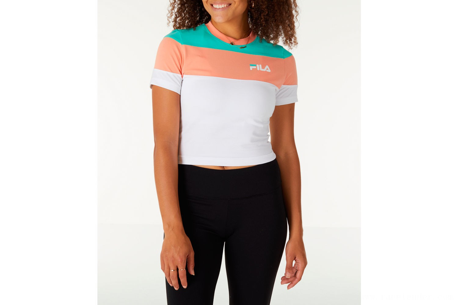 Fila Women's Maya Crop T-Shirt - White/Green/Peach
