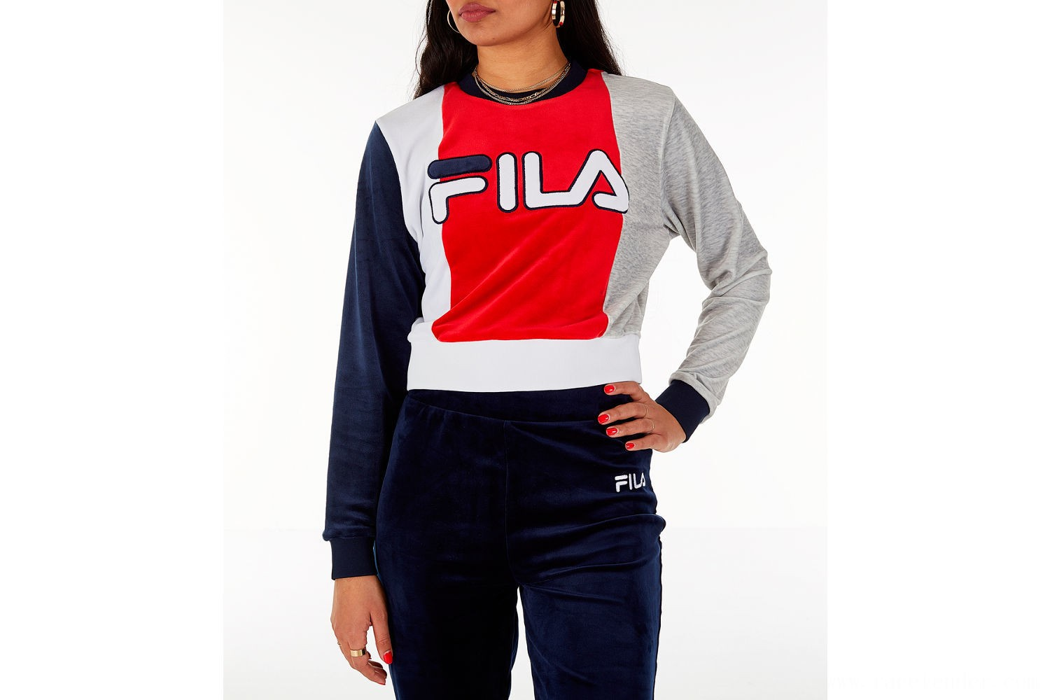 Fila Women's Antonietta Crop Velour Sweatshirt - Red/White/Blue