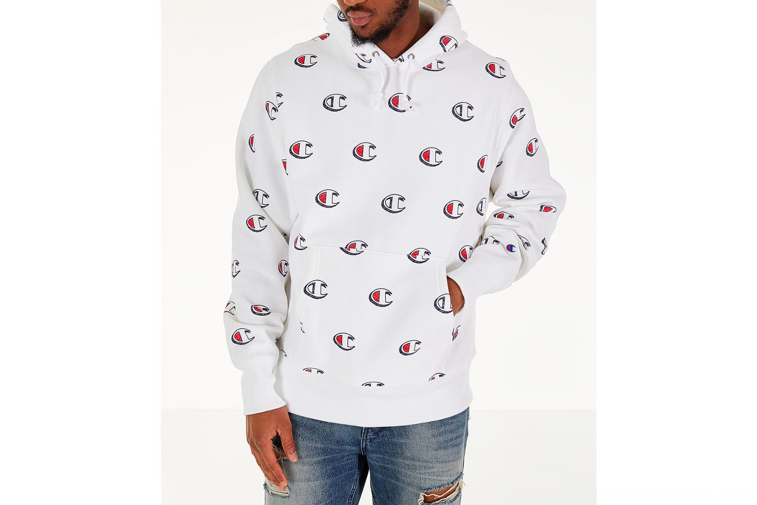 Champion Men's Reverse Weave Allover Scribble Script Hoodie - White