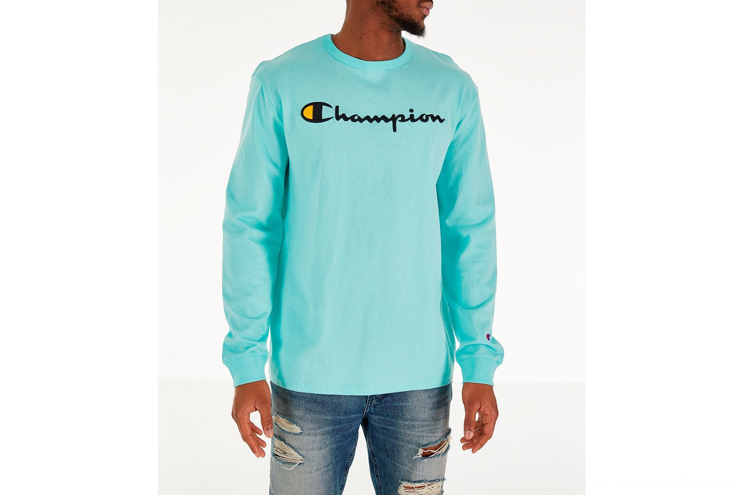 Champion Men's Heritage Logo Long Sleeve T-Shirt - Waterfall Green