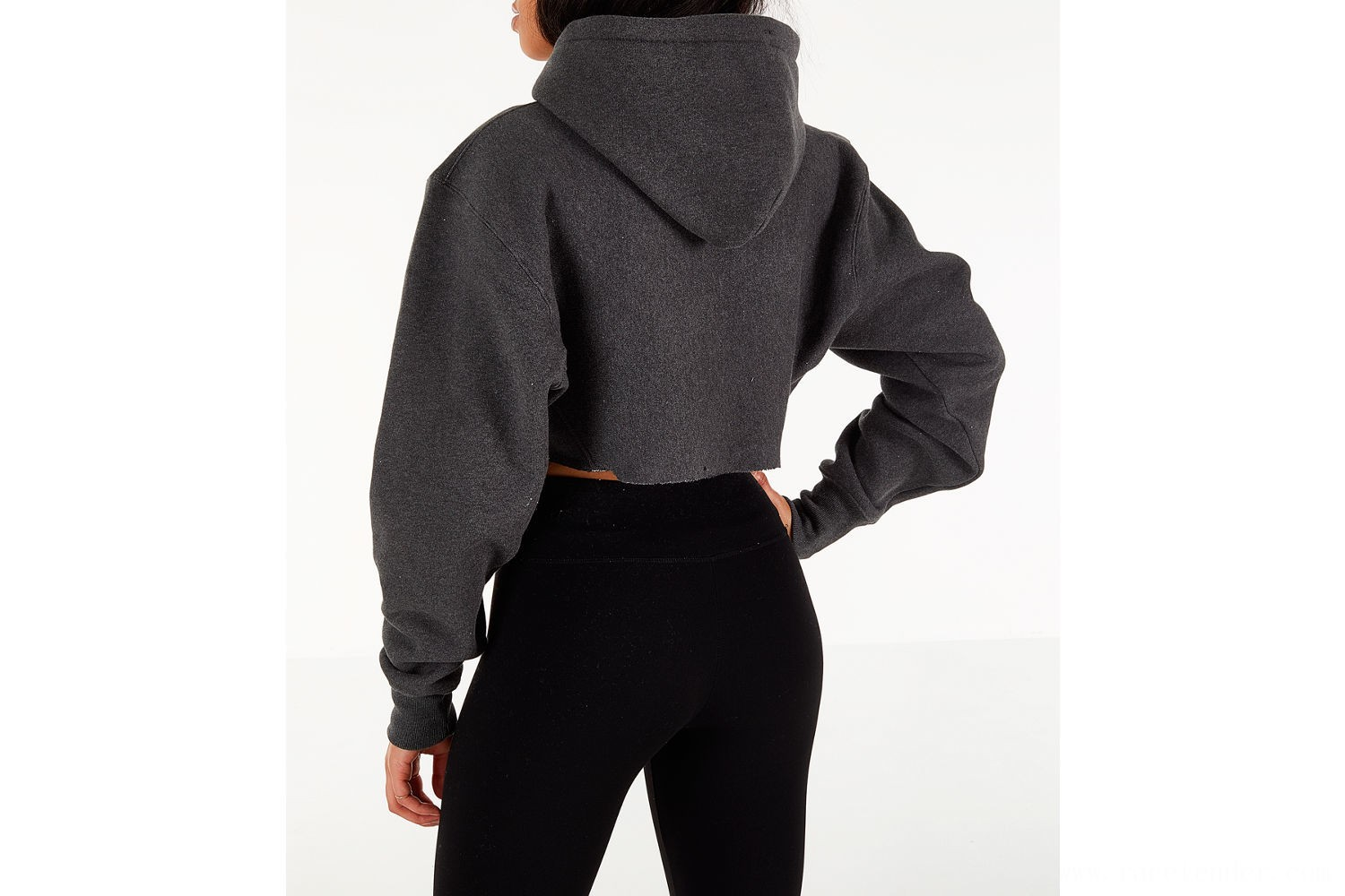 Champion Women's Reverse Weave Crop Hoodie - Dark Grey