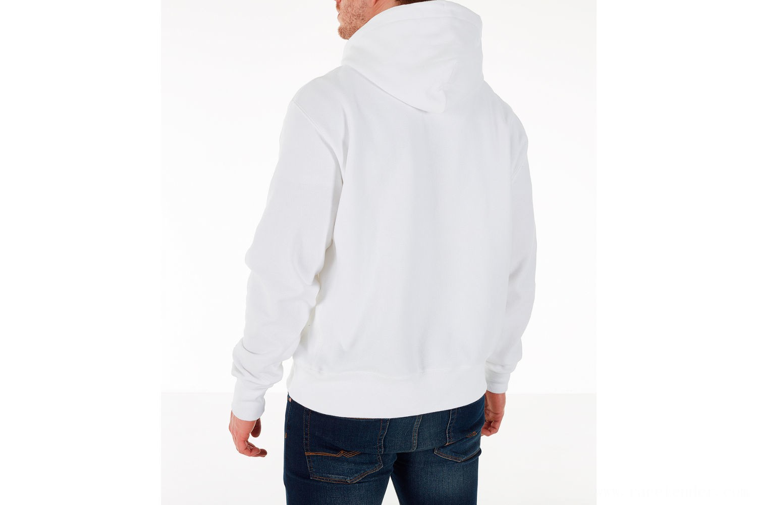 Champion Men's Reverse Weave Chenille Logo Hoodie - White/Blue/Yellow