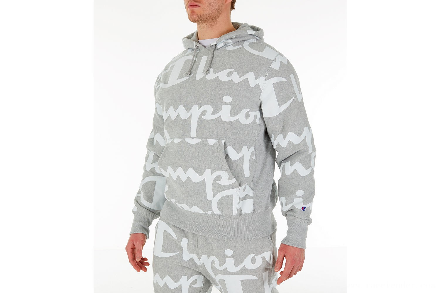 Champion Men's Reverse Weave Allover Print Large Script Hoodie - Oxford Grey