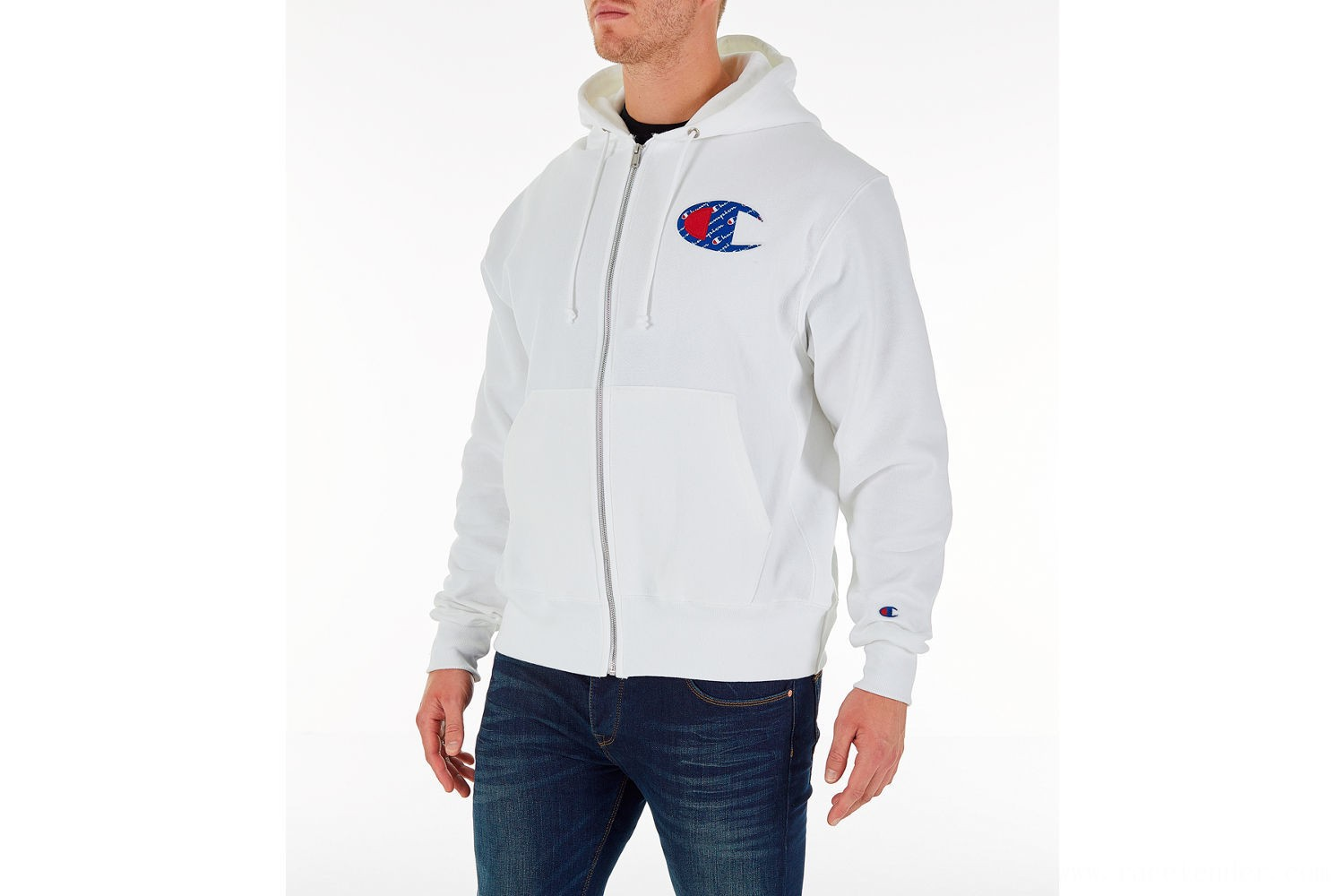 Champion Men's Reverse Weave Sublimated Full-Zip Hoodie - White