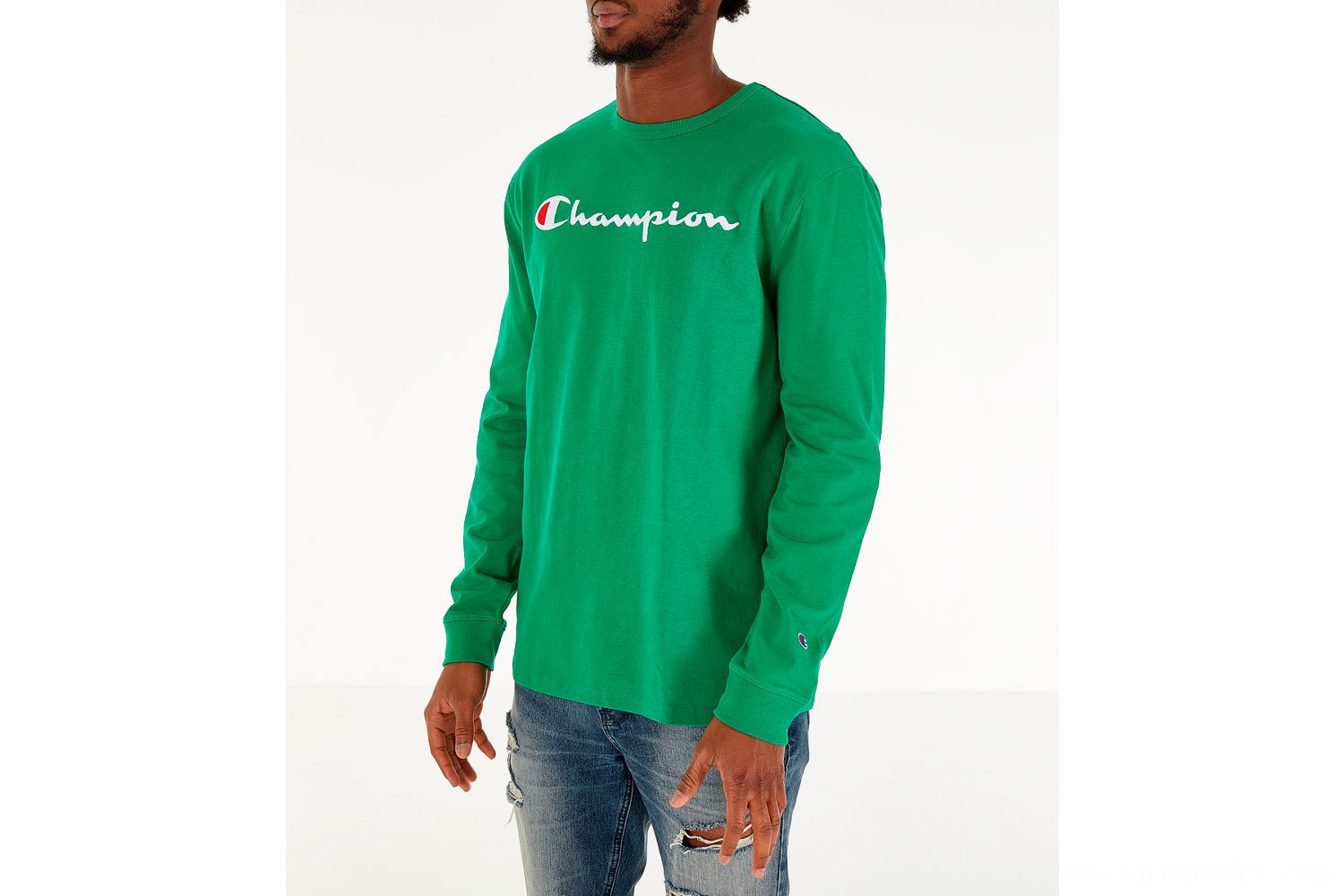 Champion Men's Heritage Logo Long Sleeve T-Shirt - Kelly Green