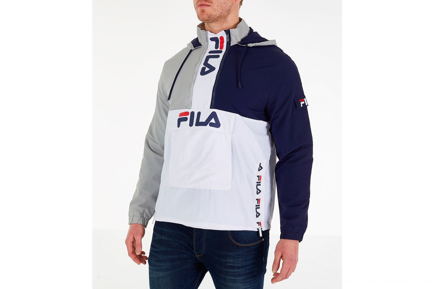 Fila Men's Parallax Wind Jacket - Grey/Navy