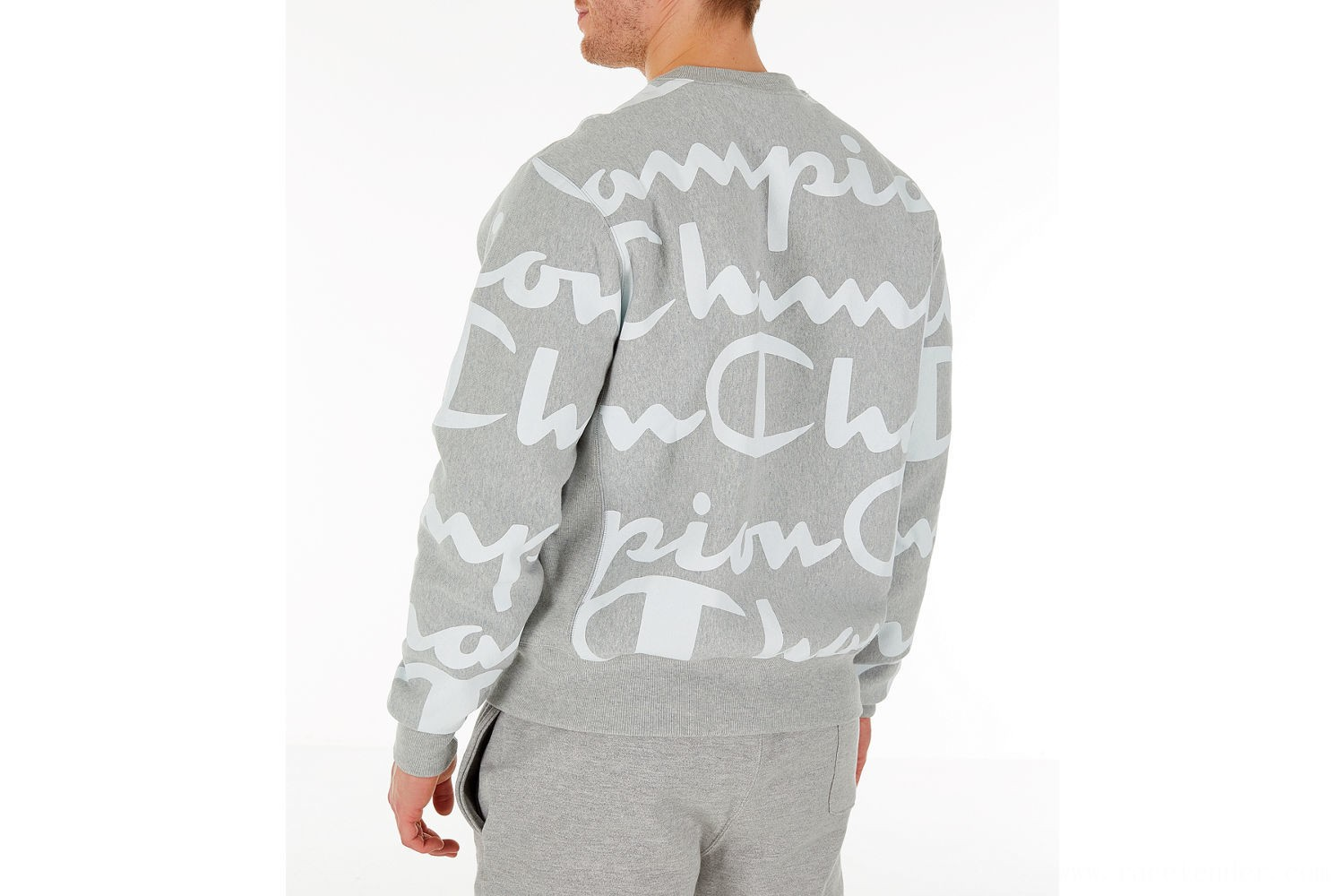 Champion Men's Reverse Weave Allover Print Large Script Crewneck Sweatshirt - Oxford Grey
