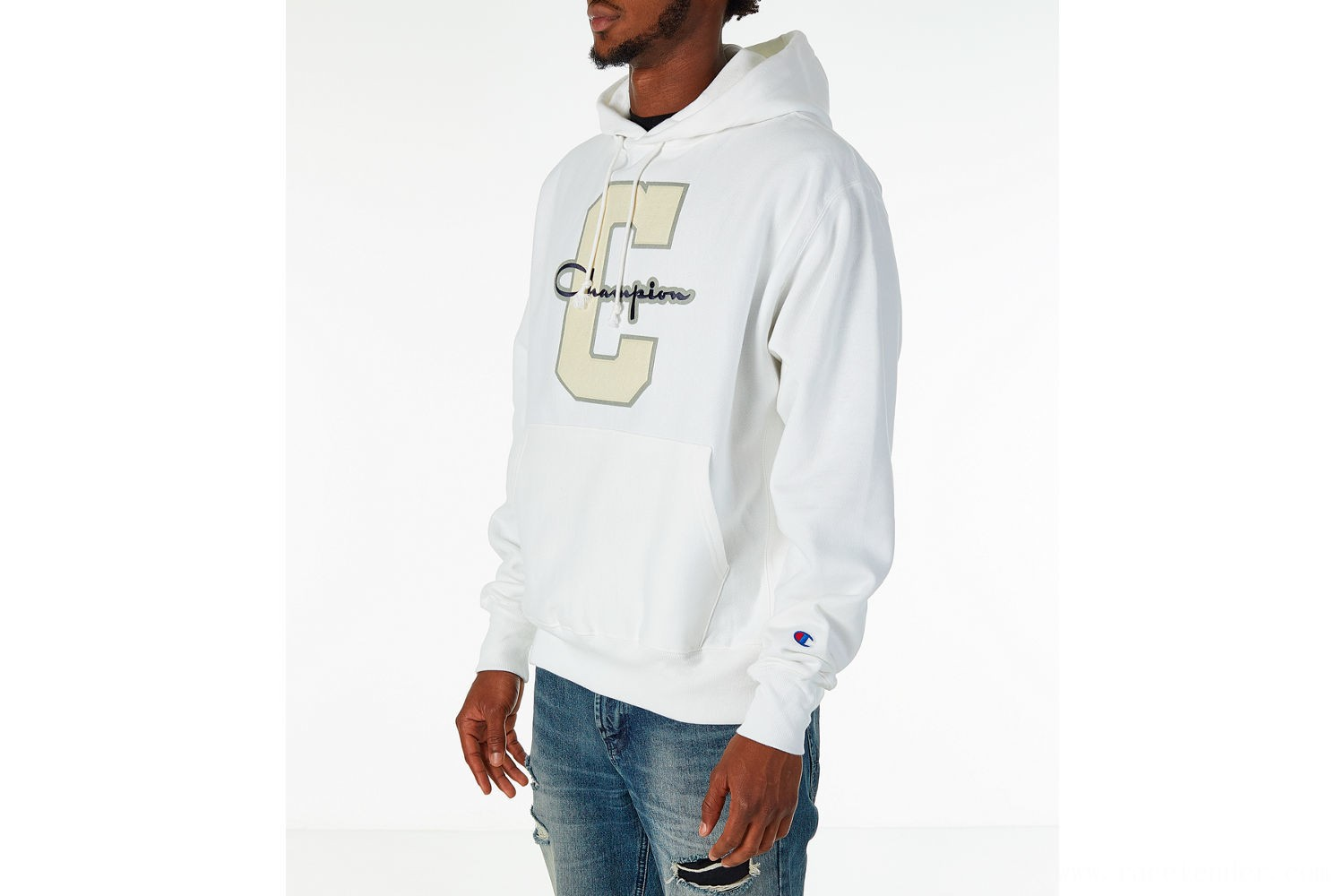 Champion Men's Reverse Weave Graphic Hoodie - White