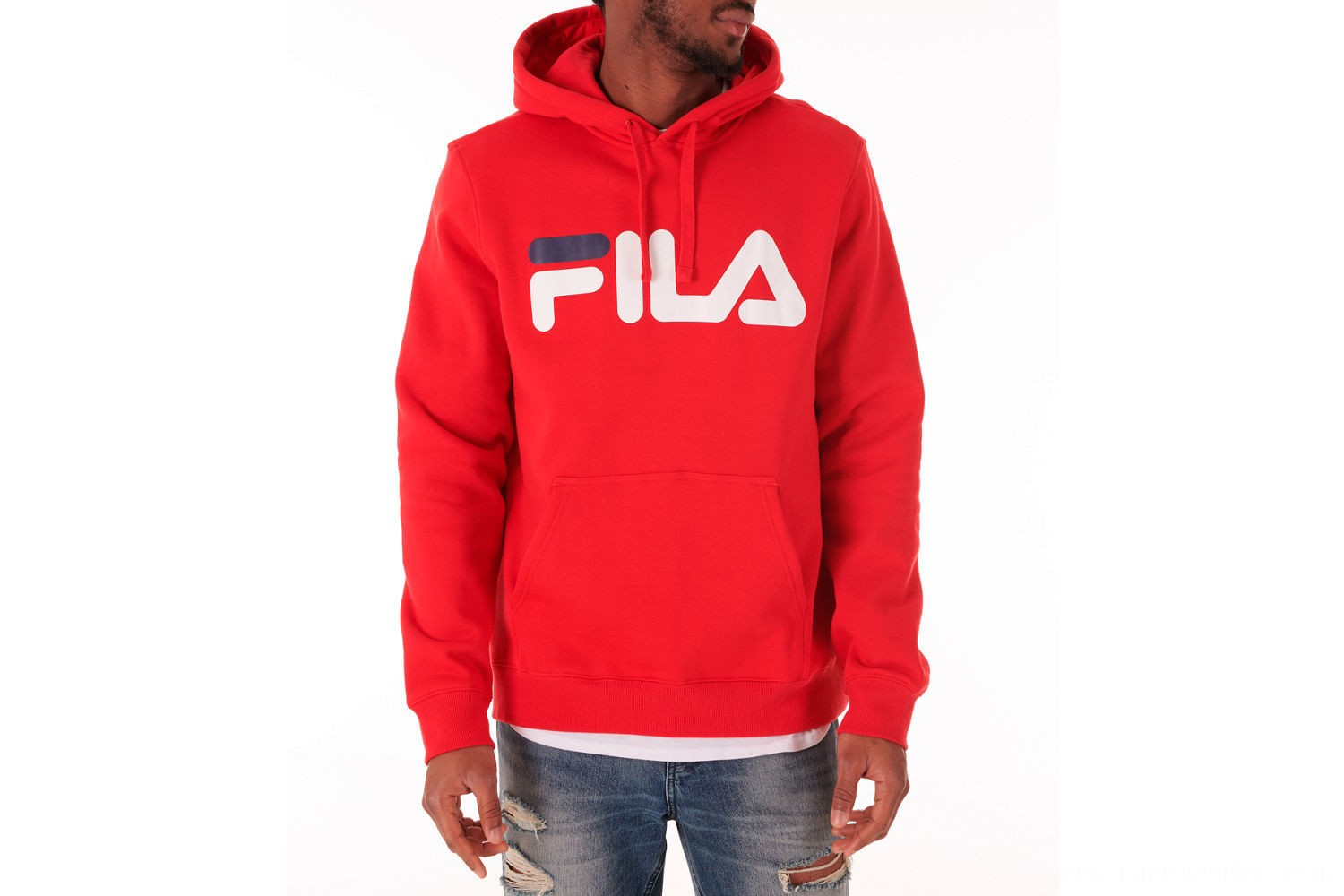 Fila Men's Fiori Pullover Hoodie - Red/White/Navy