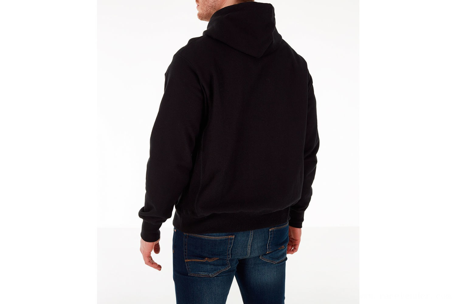Champion Men's Reverse Weave Chenille Logo Hoodie - Black/Royal