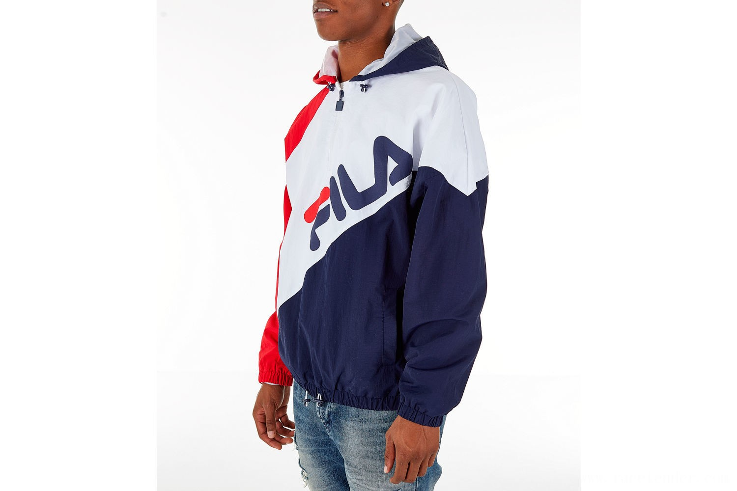 Fila Men's Harrison Half-Zip Nylon Hoodie - White/Red/Navy