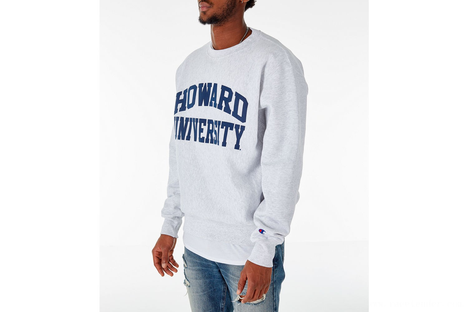 Champion Men's Howard Bison College Reverse Weave Crewneck Sweatshirt - Silver Grey