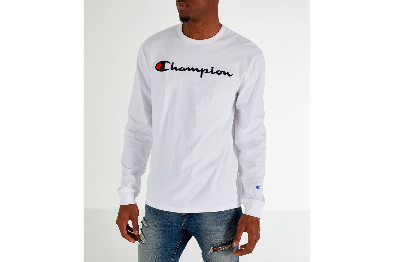 Champion Men's Heritage Logo Long Sleeve T-Shirt - White